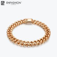 Enfashion крупное колье-чокер из нержавеющей стали золотого цвета, эффектные ожерелья, мужские ювелирные изделия PM3014(Китай)