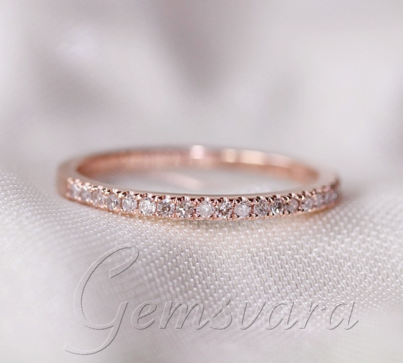 Engagement Rings Vs Wedding Bands: Half Eternity Band VS Diamond Solid 14K Rose Gold Pave