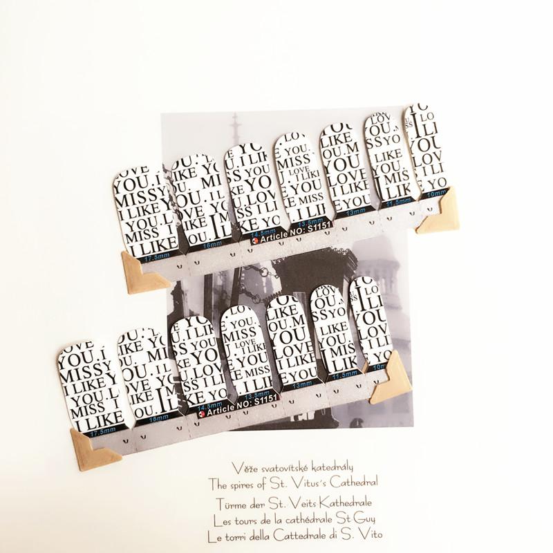 Lovely Simple Letter Nail Arts Sticker 14 pcs set Waterproof Nail Decal Art Sticker Gel Polish