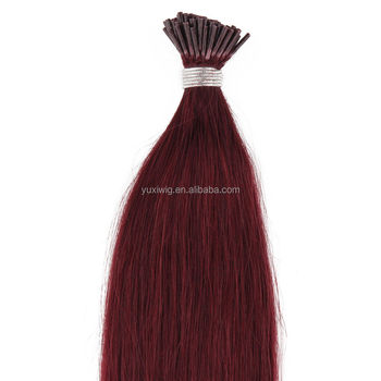 "2016 New Arrival 20"" 51cm Real Human I-Tip Pre Bonded Stick Tipped Hair Extensions Red Wine Burgundy color"