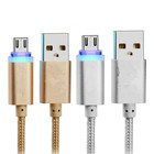 Smart LED Micro USB Data Cable 2.1A Fast Charging Metal Nylon Braided V8 Charger for Mobile Phone Samsung for Xiaomi Huawei HTC