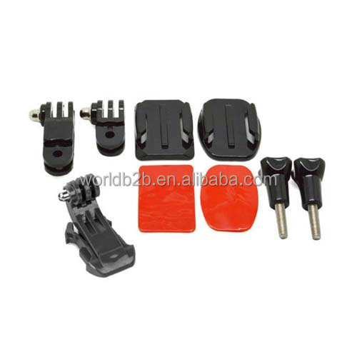 Helmet Front Side Mounting Kit with Curved and Flat Mount for Gopro HD 2 3 3 4