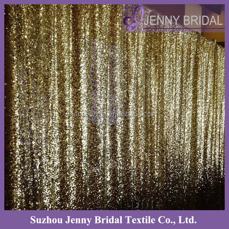 Bck087 Custom Made Gold Sequin Curtain Wedding Backdrop