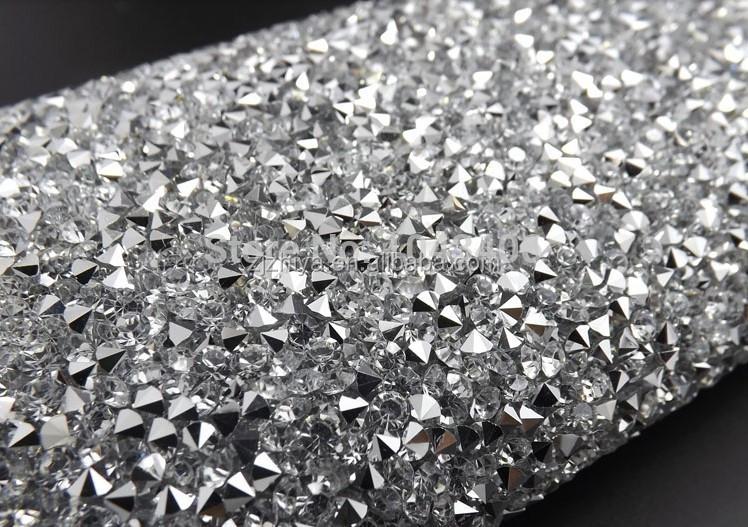 24 40cm Crystal Clear Resin Rhinestone Trim Iron On