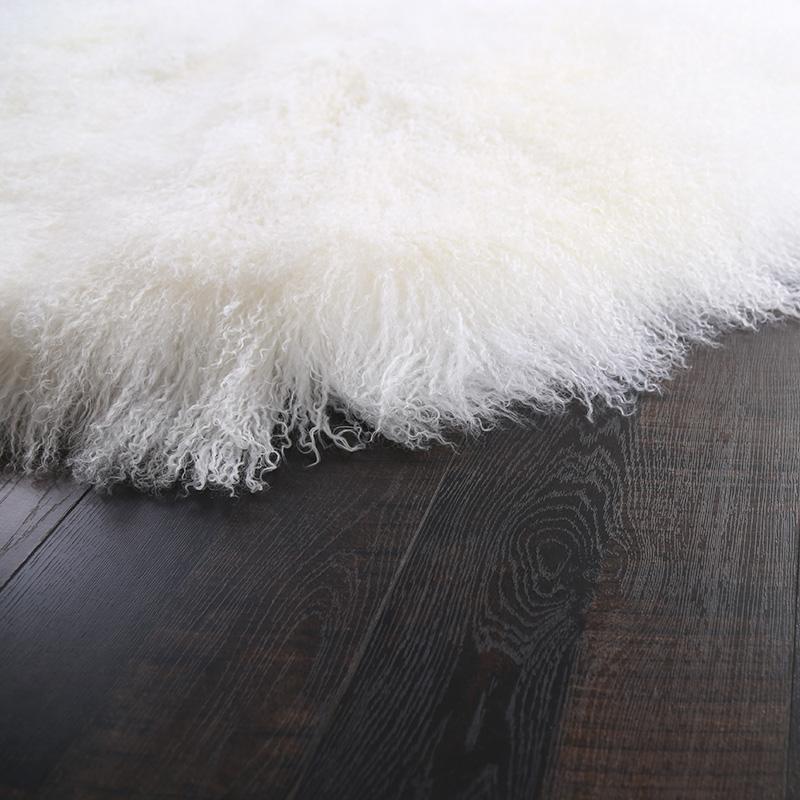 Top quality long hair curly real tibetan mongolian lamb fur plate