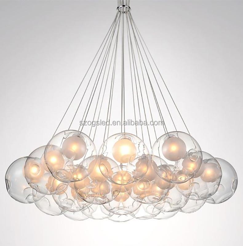 Подвесная лампа в виде шара с 19 головками, Современная двойная стеклянная люстра