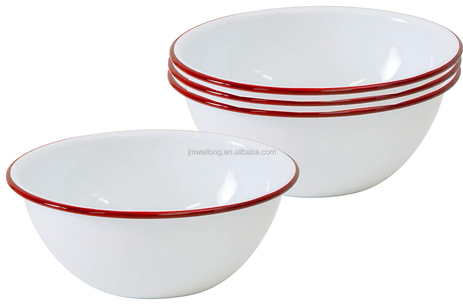 Vintage white round enamel camping outdoor metal bowls with blue rim