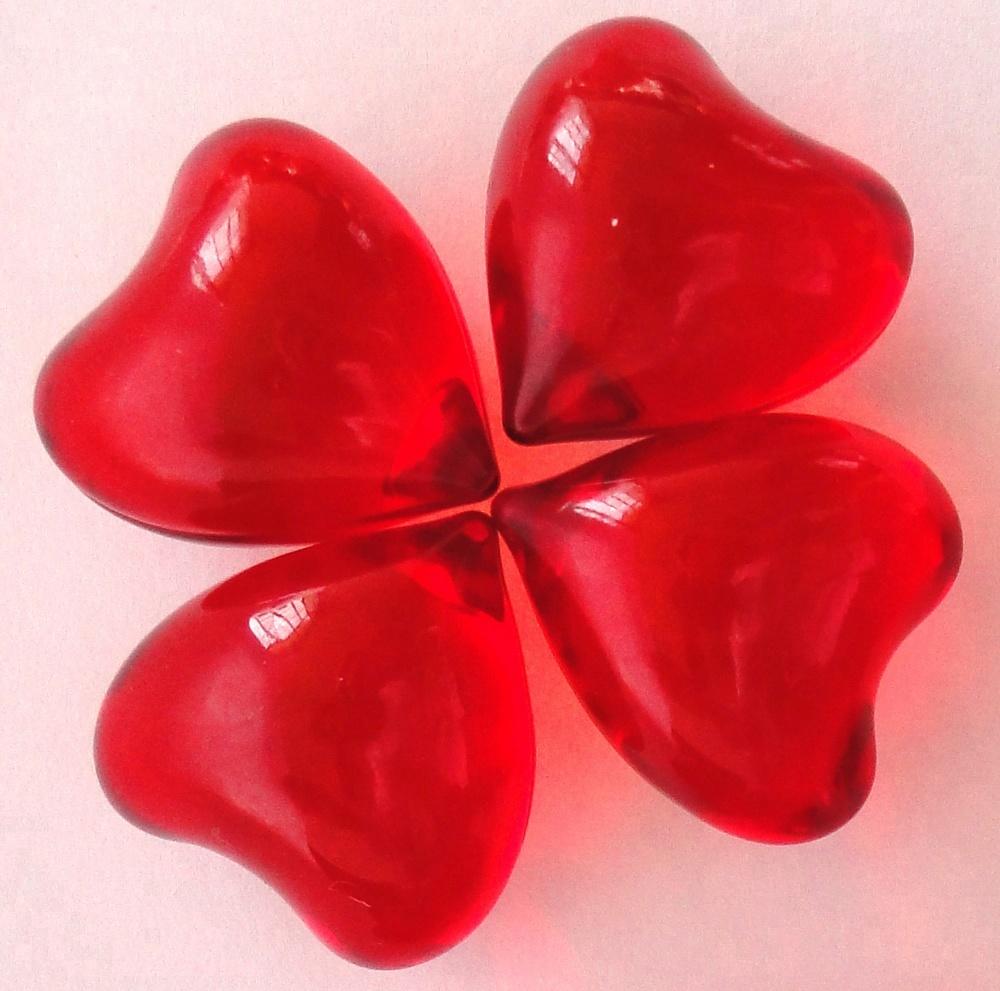 Red Heart shape bath oil beads