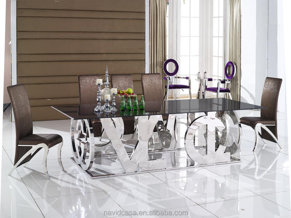 A8036 Long Narrow Metal Glass Top Dining Table Buy Long