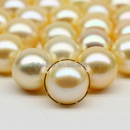 natural saltwater pearls south sea golden pearls 9-9.5mm round shape