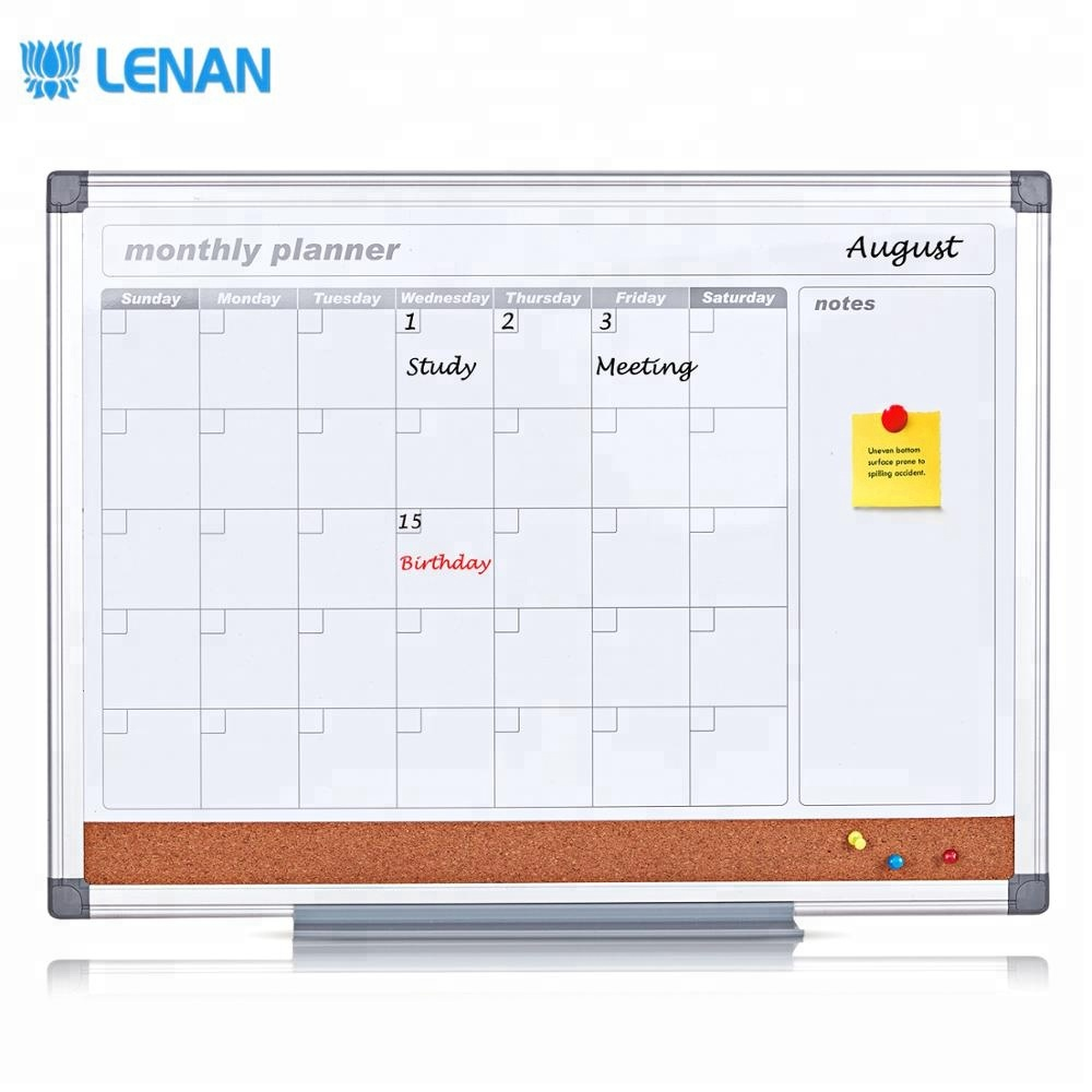 New design 3 in 1 wall mounted weekly combination magnetic dry erase whiteboard monthly planning calendar notice board - Yola WhiteBoard   szyola.net