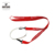 red polyester bottle holder lanyard with imprinted white silicone ring