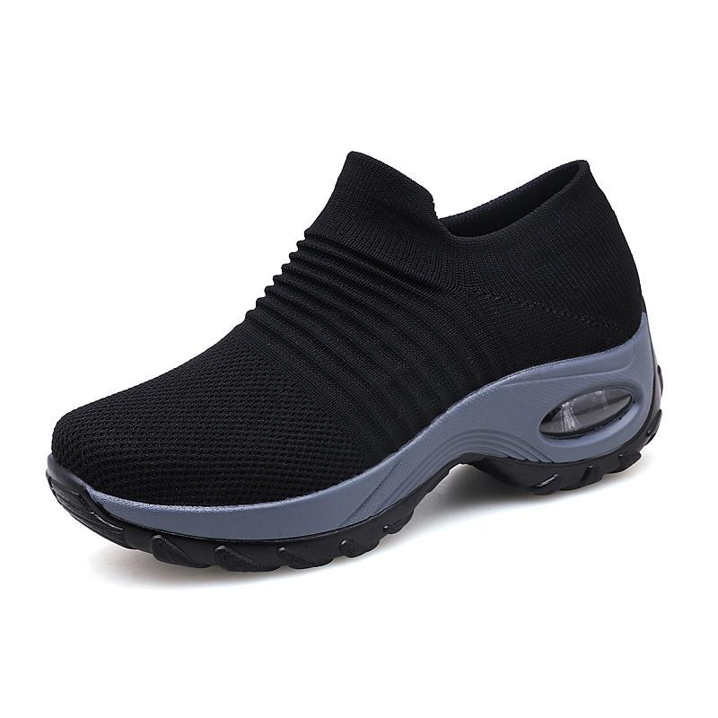 Женские сетчатые кроссовки-носки без шнуровки, удобная обувь на платформе для джазовых и танцев, с воздушной подушкой, большие размеры