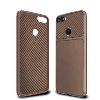 Factory price grid carbon fiber skin tpu cover case for huawei y9 2018 case phone