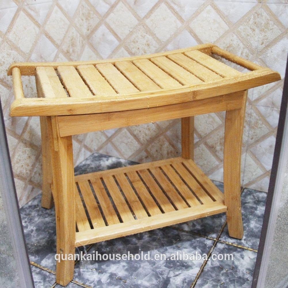 Сиденье для душа скамья с вешалка для полотенец для ванной комнаты спа-ванна Организатор табурет с 2 круглый Ланч-бокс для хранения полки, ванной душевая табуретка