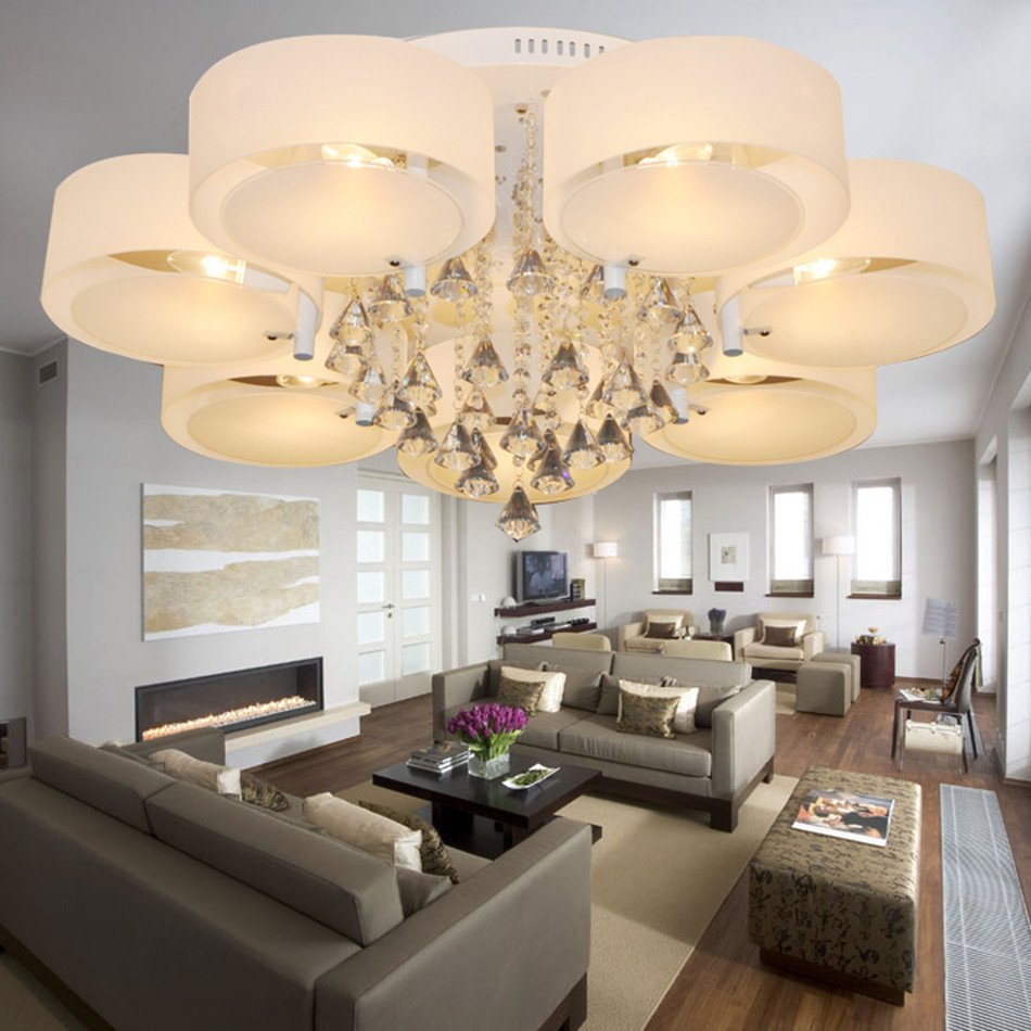 Simple Dining Room Design: Contemporary Style 7 Lights LED Crystal Chandeliers Simple