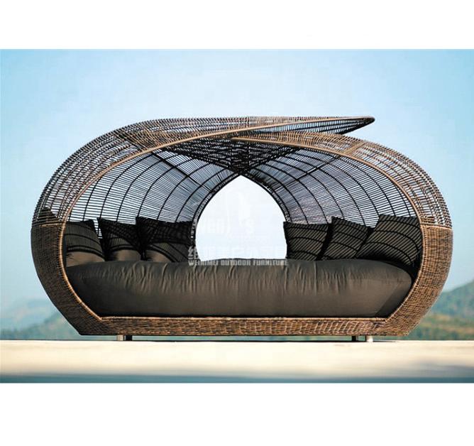 Оптовая продажа, садовая плетеная ротанговая уличная уникальная кровать