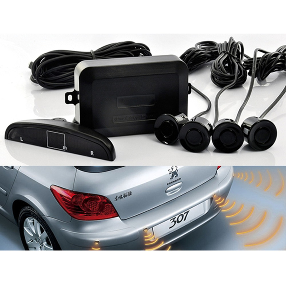 LED Distance Display COCAR Car Auto Vehicle Reverse Backup Radar System with 4 Parking Sensors Distance Detection White Sound Warning
