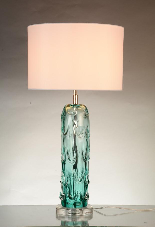 Хрустальная настольная лампа ручной работы, Зеленая лампа для гостиной с тканевым абажуром для отеля, дома, кровати