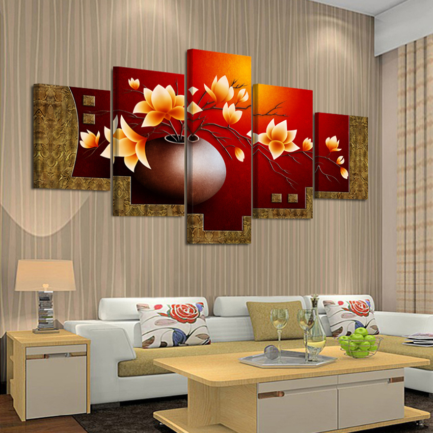 5 piece magnolia flower vase canvas print oil painting wall pictures for living room paintings. Black Bedroom Furniture Sets. Home Design Ideas