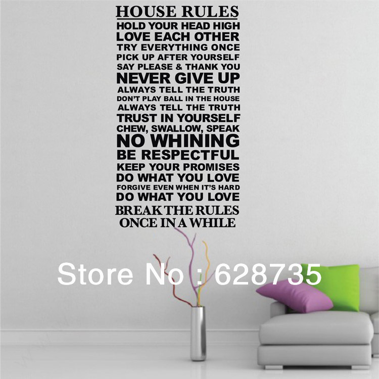 Free Shipping Family Is Vinyl Wall Lettering Quote Wall: Hot Selling Free Shipping House Rules Wall Stickers