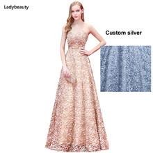 Новый модный халат De Soiree, длинные платья для выпускного вечера, Сексуальное Милое кружевное Цветочное платье с поясом, торжественное вечерн...(Китай)