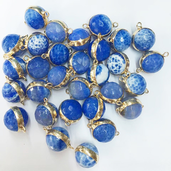 Gold Electro Plated Faced Beads Agate Double Connector Charms For Making Bracelet Pendant Jewelry
