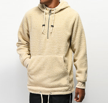 Light khaki sherpa half zip tech hoodie with spring stoppers Custom blank warm winter pullover men
