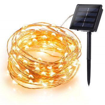 Solar String Lights100 LED Solar Fairy Lights Copper Wire Lights Waterproof Outdoor String Lights for Garden