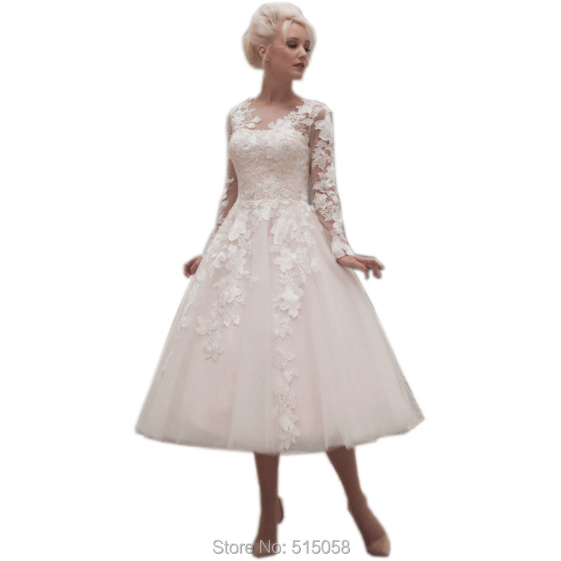 Champagne Wedding Gowns With Sleeves: Aliexpress.com : Buy Vintage Champagne Lace Long Sleeves