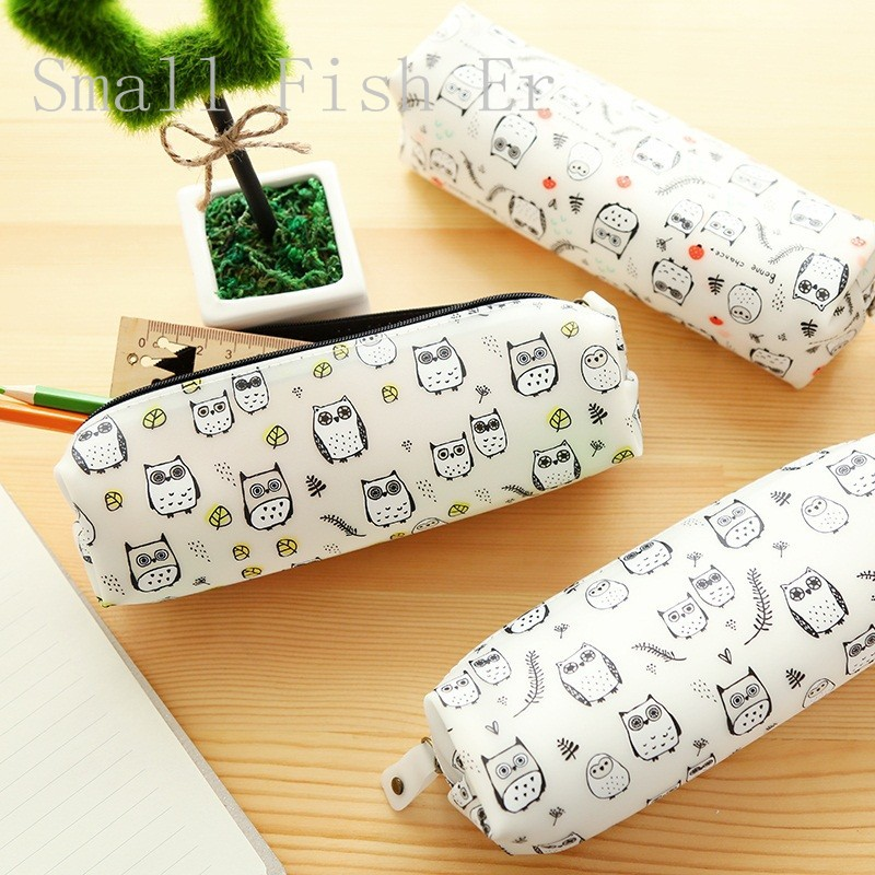 Cute Various Owl Jelly Pencil Case Silicone big capacity pen bag Stationery Storage Bag School Office
