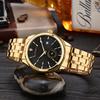 Gold case+black dial