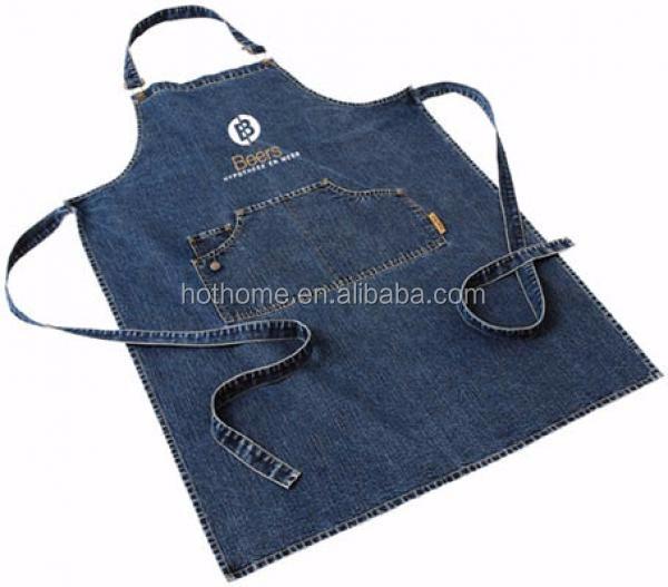 Новый дизайн, винтажный кухонный фартук, высококачественный джинсовый фартук для готовки, индивидуальный фартук из джинсовой ткани