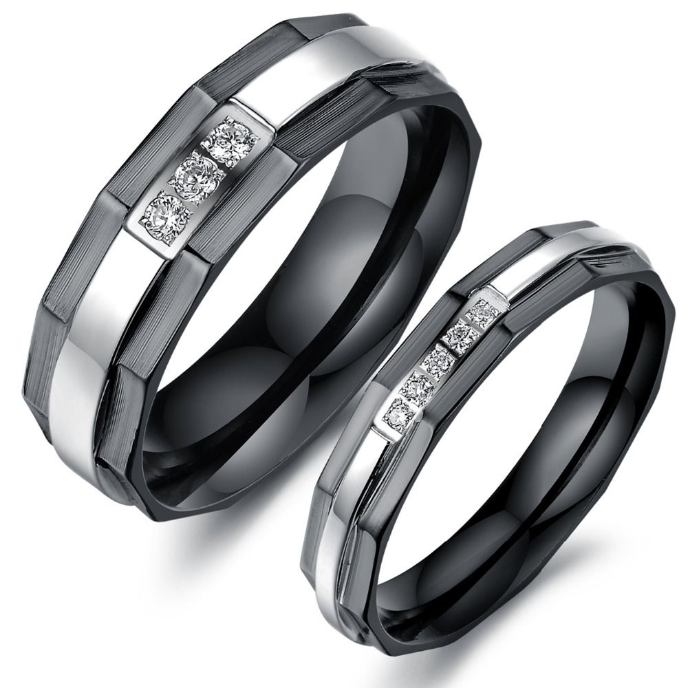 E Piece Price New His And Hers Promise Ring Sets Fashion Black Wedding