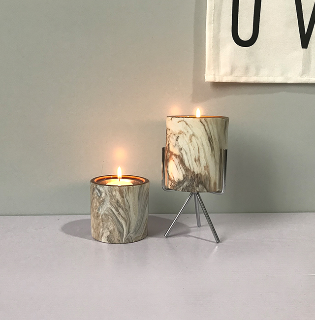 Wholesale Modern decorative Marble candle jar/holders/containers carrara stone with electroplated lid