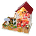 Free shipping DIY wooden miniature furniture doll house with garden mini vila doll house building