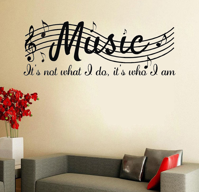 MUSIC IS NOT Wall Say Quote Word Lettering Art Vinyl