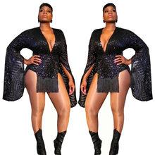 Женское облегающее мини-платье с блестками и кисточками, с двойным разрезом и Расклешенным рукавом, сексуальное платье с глубоким v-образны...(Китай)
