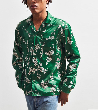 Thick silk satin floral printed button down shirt OG style sublimation long sleeve men's shirt custom