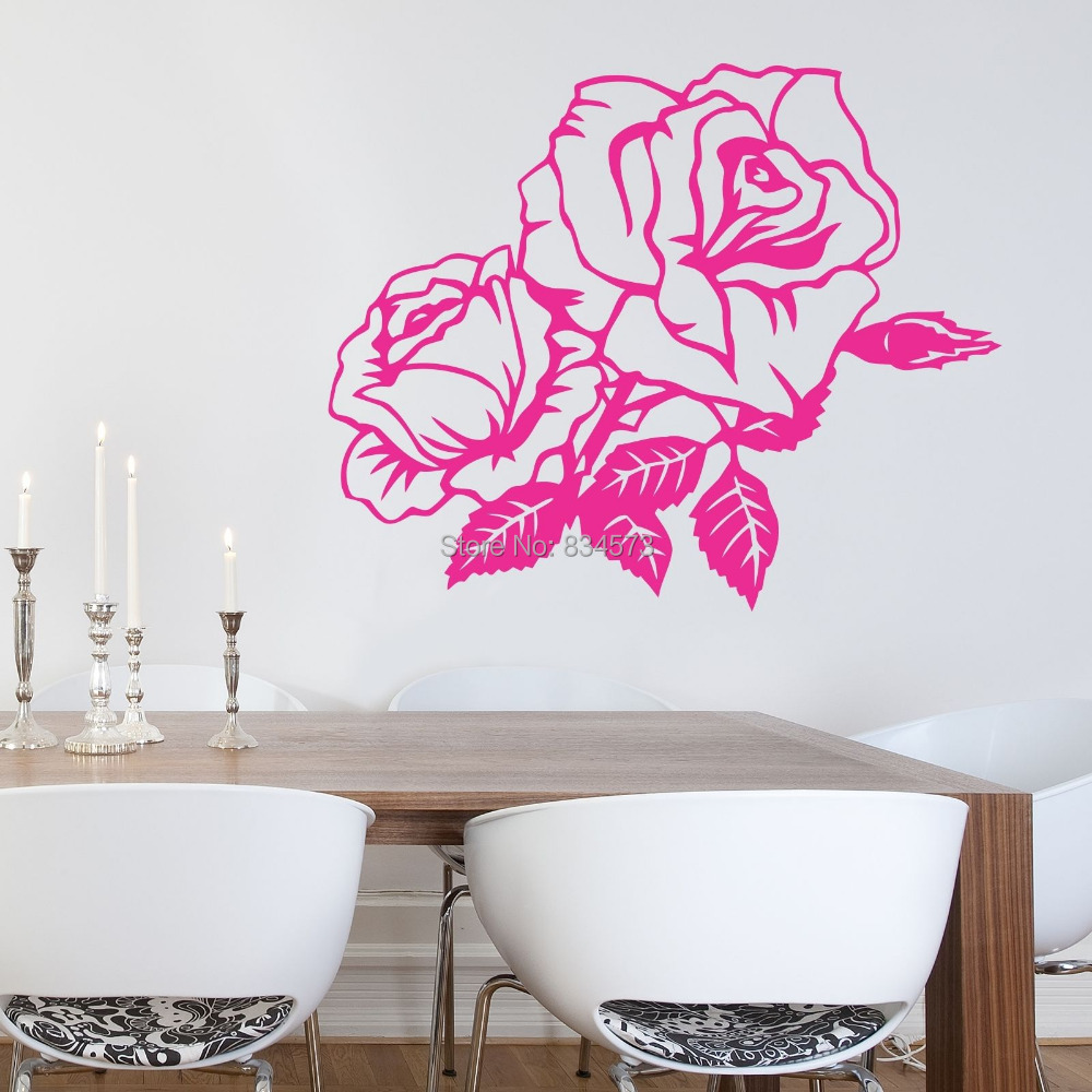 buy hot beautiful rose flower wall art sticker decal diy home decoration decor. Black Bedroom Furniture Sets. Home Design Ideas