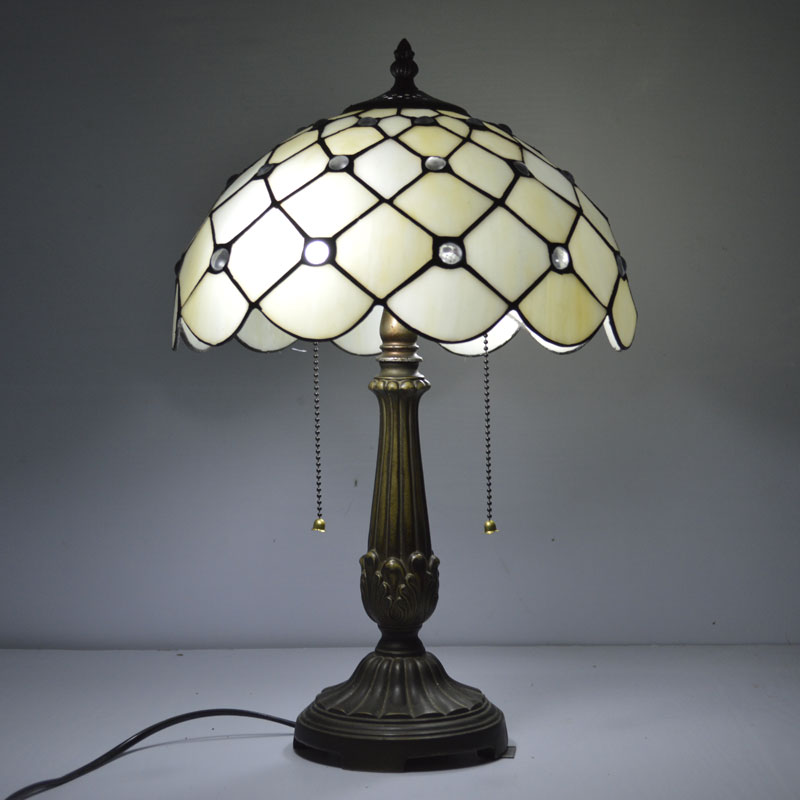 12 inch tiffany table lamp mediterranean sea clear glass beads stained glass bedside lamp e27. Black Bedroom Furniture Sets. Home Design Ideas