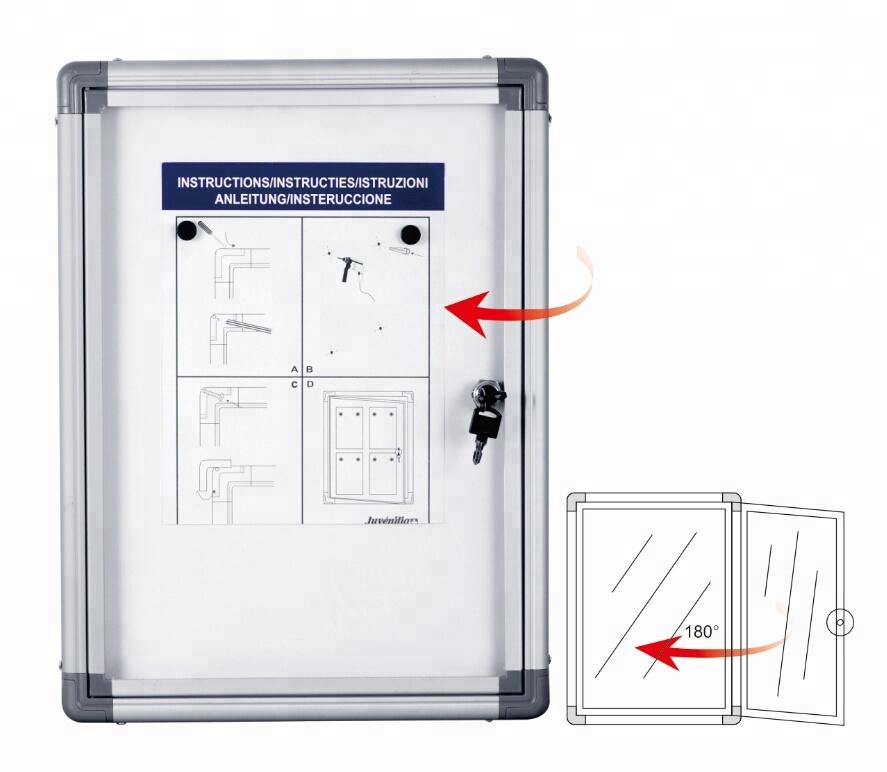 Aluminium frame magnetic wall-mounted enclosed lockable bulletin notice board acrylic bulletin sign display notice board - Yola WhiteBoard   szyola.net
