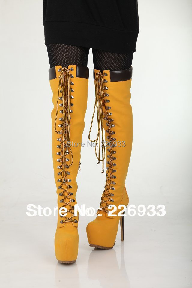 Yellow Thigh High Boots Cr Boot