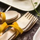 Disposable Stocked Eco-Friendly 300 Pcs Set Wooden Spoon Fork And Butter Knife