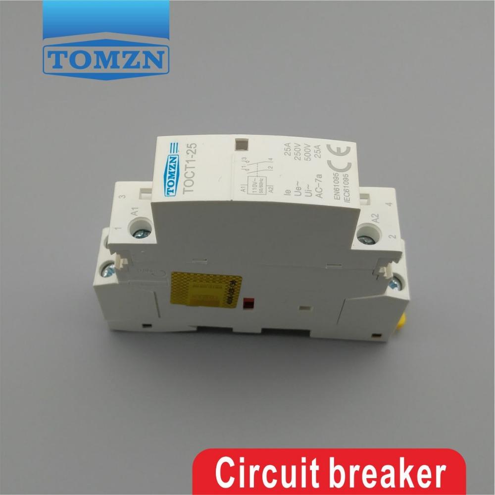 Бытовой контактор переменного тока TOCT1, 2P, 25 А, 110 В, катушка, 50/60 Гц, Din-рейка, 2NO