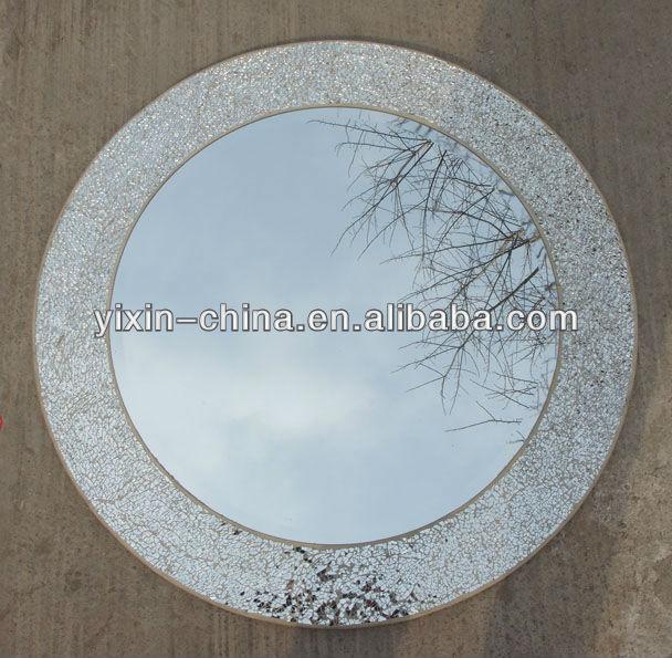 Silver Mosaic Round Mirror 80cm
