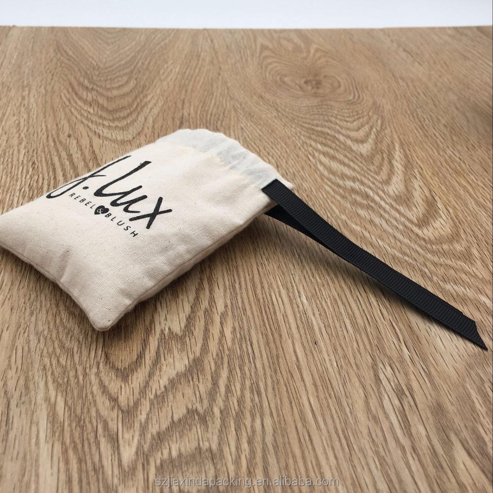 Кремовый Хлопковый мешок на шнурке с черной лентой