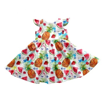 pretty baby girl lovely dress flying sleeve fruit printed wholesale summer new frock