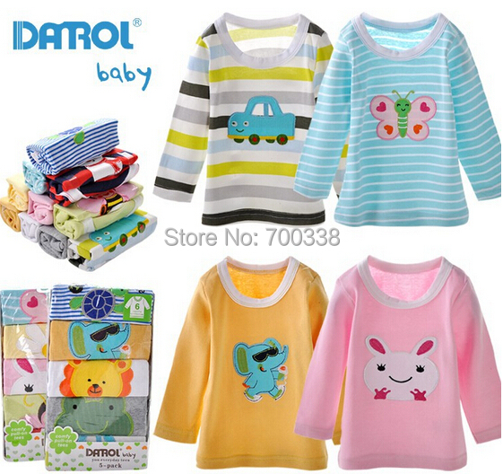 Free Shipping DANROL Baby Tshirt Long Sleeves High Quality 100 Cotton Mix 5pcs pack Autumn Spring