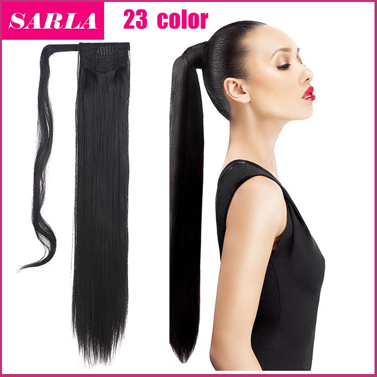 Лучшее качество длинные прямые хвост выдвижения волос 24